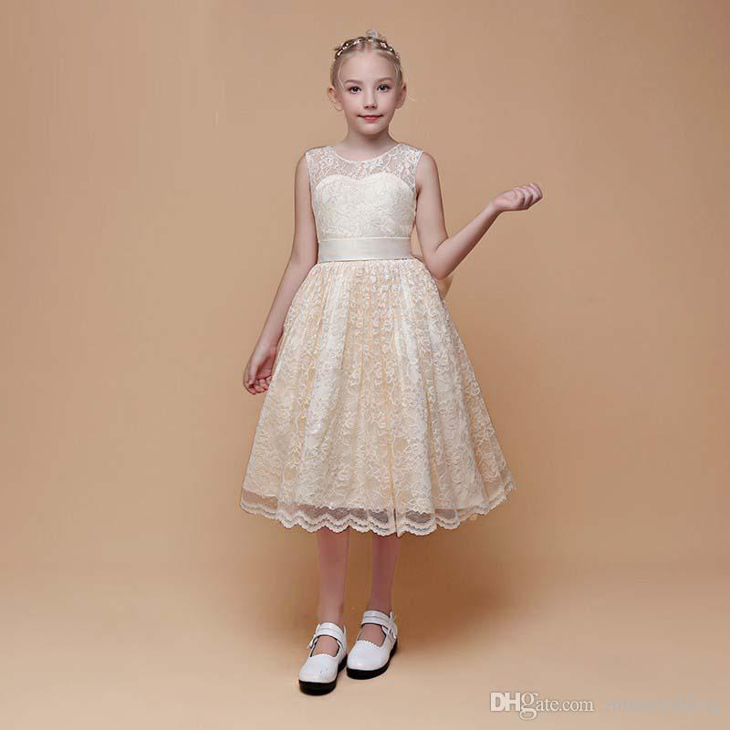 7fb365637a0c 2019 New Arrival Pretty Girls' Champagne Lace Dress Birthday Party Jewel  Neckline Tea Length Style Child Dancing Dress