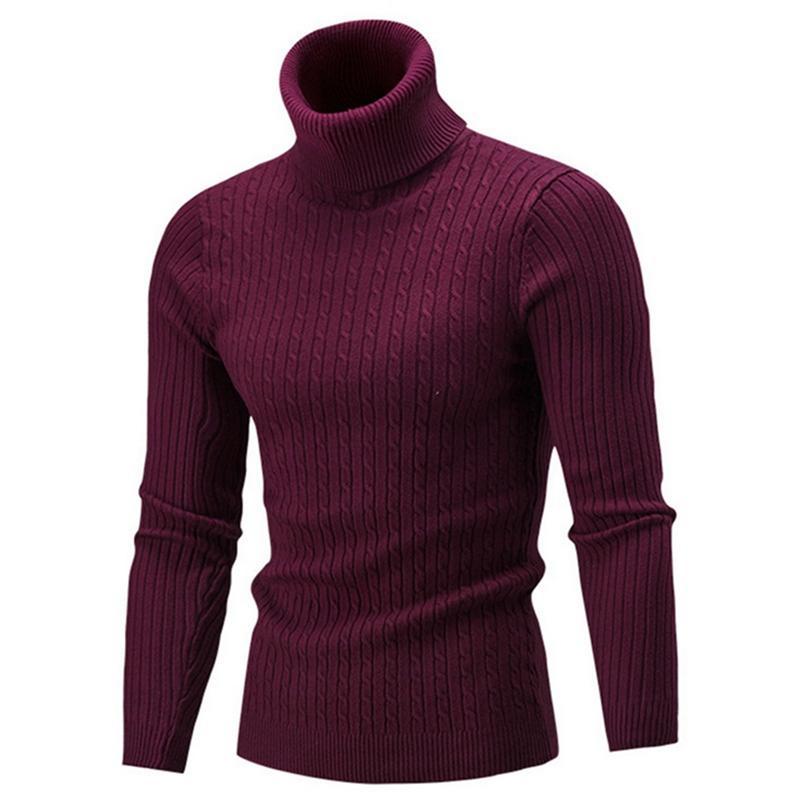 54b60689e67af3 2019 New Autumn Winter Men'S Sweater Men's Turtleneck Solid Color ...