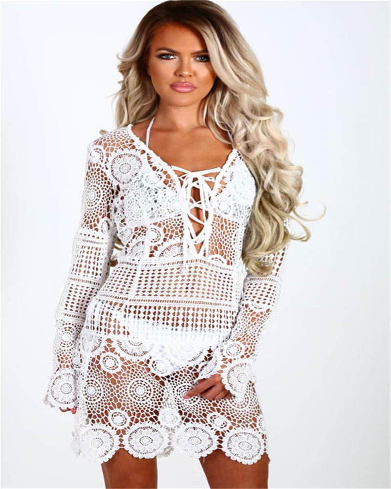 56559b936 2019 2019 Lady Swimwear Summer Beach Dress Sexy Beach Cover Up Crochet White  Swimwear Dress Ladies Bathing Suit Cover Ups Tunic From Winwin2013