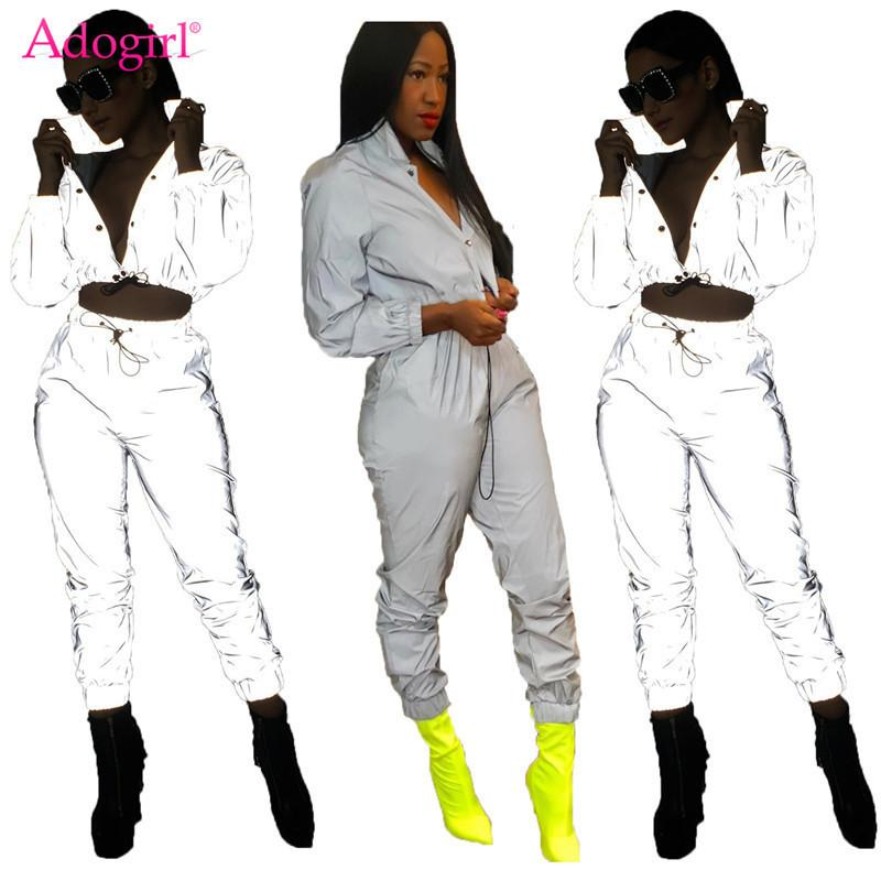c651c0a0c9cd 2019 Adogirl Women Sexy Reflective Tracksuit Night Version Buttons ...
