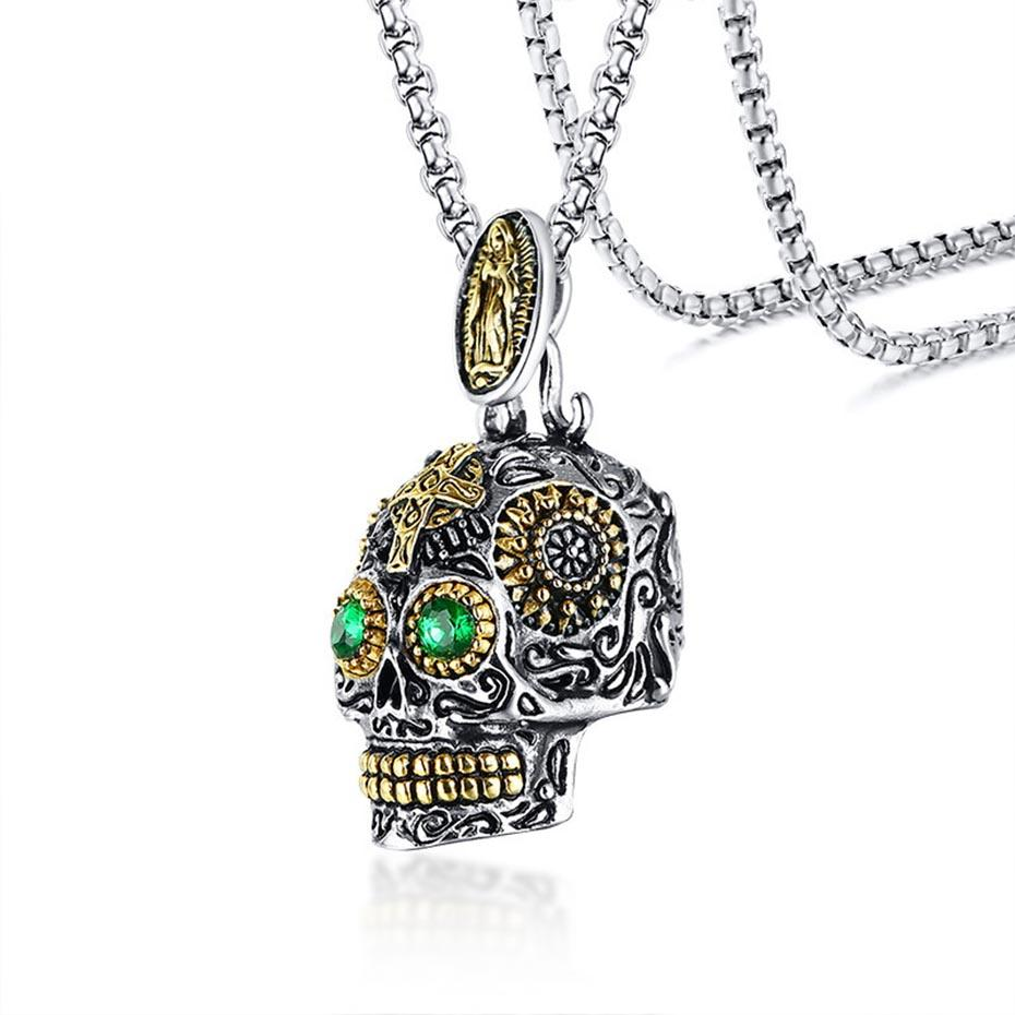 Relodi Steel Punk Ghost Head Pendant Men Gioielli Trendy Green Eyes Between The Golden Skull Collana SP3025