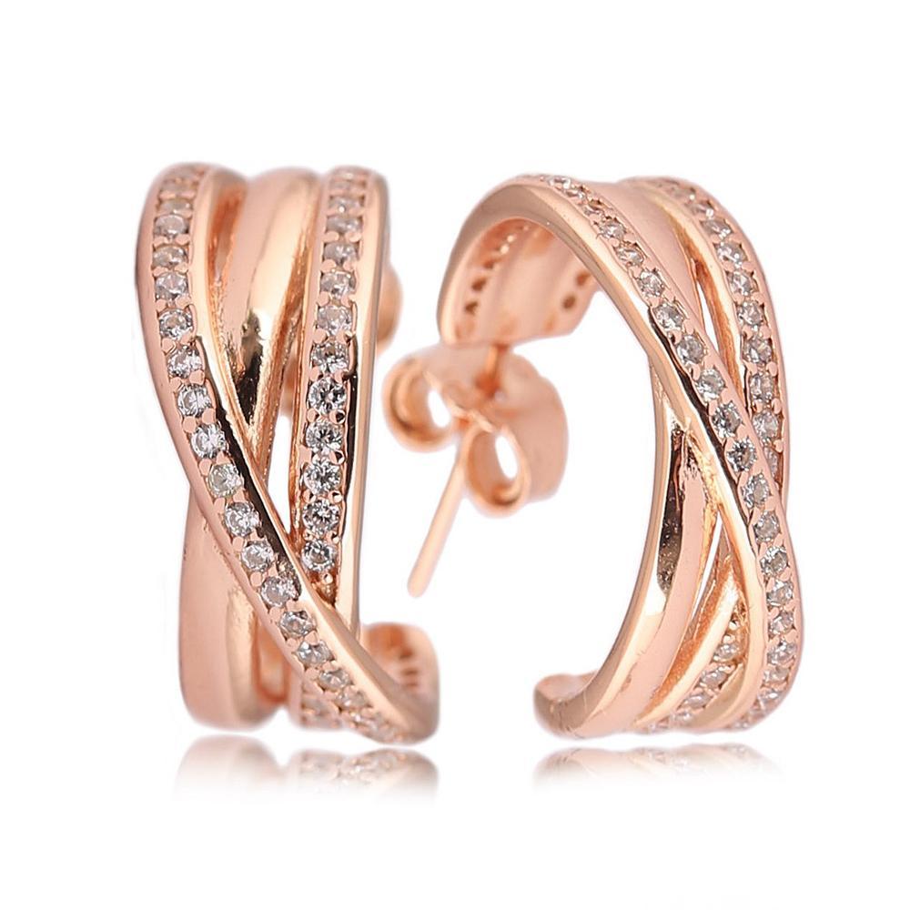 6c47b84b2de9 Compre Pendientes De Aro Entrelazados De Oro Rosa Deslumbrante De Plata 925  Real