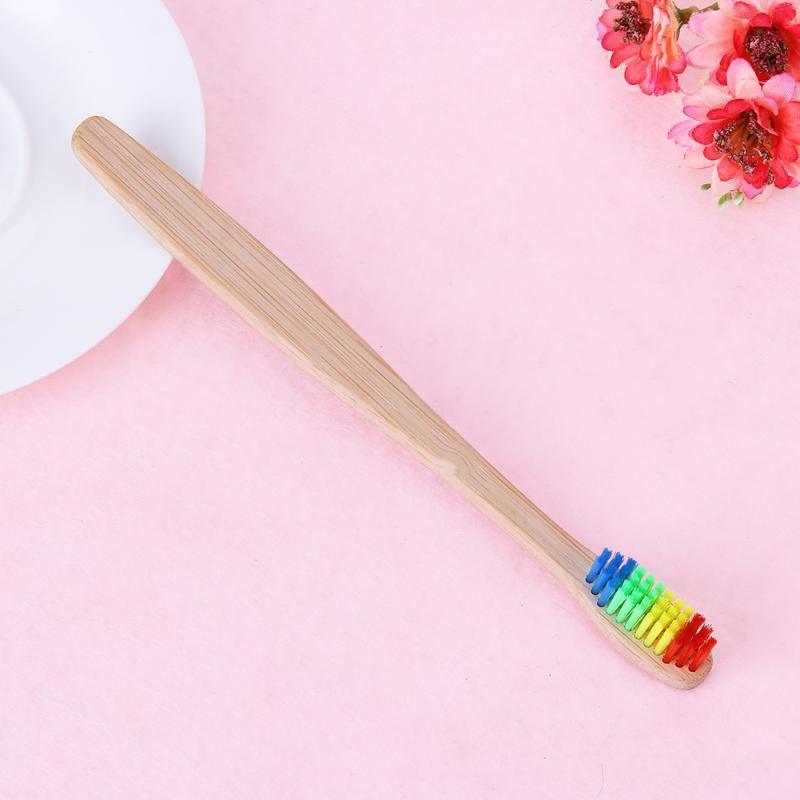 Wood Rainbow Toothbrush Bamboo Handle ToothBrush Soft Fibre Whitening Rainbow Wooden Handle Tooth Soft Brushes Set
