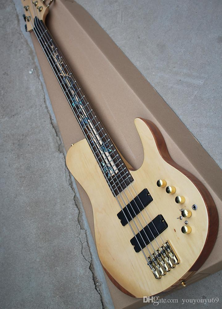 Natural wood bass guitar color and gold hardware, 5 strings, 24 Frets, neck piercing body, custom clothing