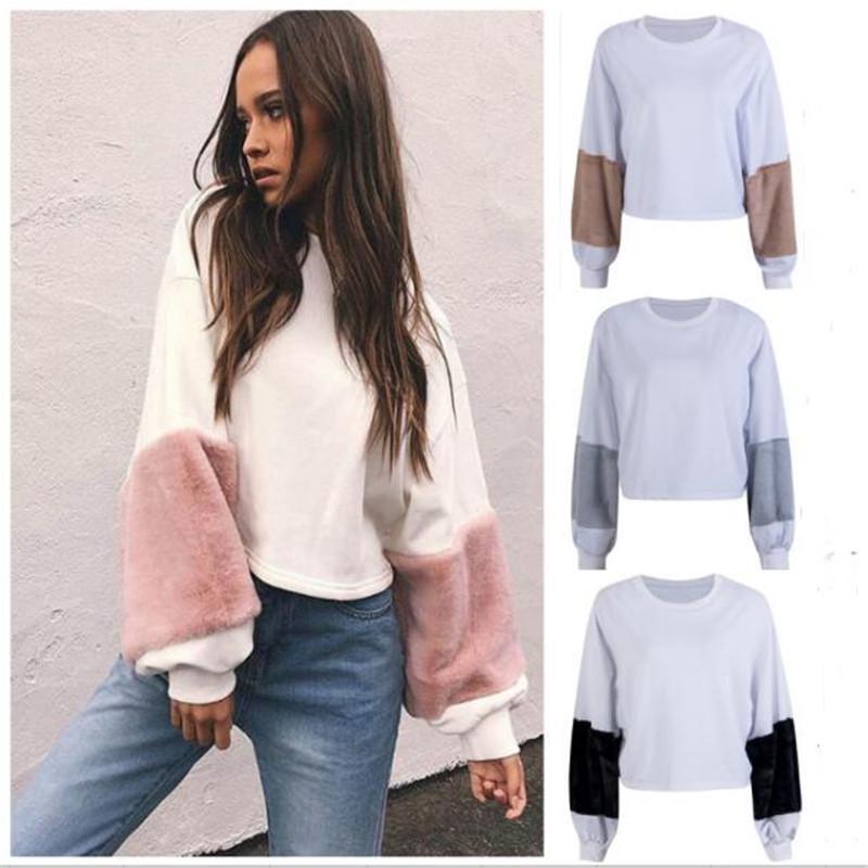 56e703d20 Fashion Patchwork Hoodie Women Girls Plush Fleece Long Sleeve Crop ...