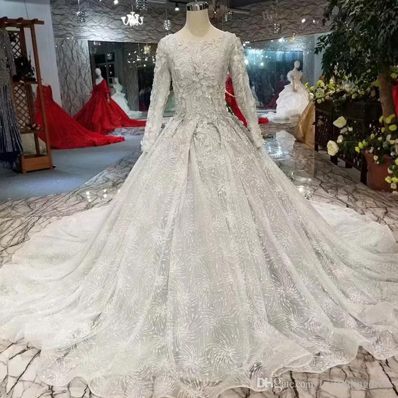 09cf96d15658 Discount Grey Muslim Wedding Dresses O Neck Long Sleeve Lace Up Back Wedding  Gown With Long Train Bridal Dress 2019 Newest Design Wedding Stores Weeding  ...