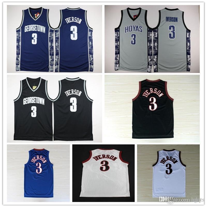 ded9a156a Georgetown Hoyas College 3 Allen Iverson Jersey University Tean Black Blue  Gray Allen Iverson Basketball Jerseys Shirt Uniform Online with  27.2 Piece  on ...