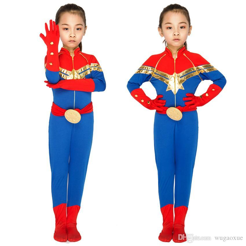 Popular Kids Halloween Costumes 2019.2019 Kids Captain Marvel Cosplay Disguise Halloween Carnival Costumes For Girls Jumpsuit Party Performance Clothing