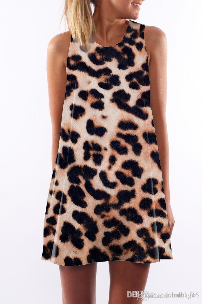 68c2a105f297 Vestido de mujer Cuello redondo de verano Sling sexy Sin mangas Envoltura  de cadera Elegante Dama Leopard Estampado falda ajustada Lápiz casual ...