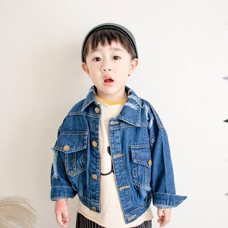 bf8e35338 Baby Boys Denim Jacket & Coat 2 8Yrs Children Blue Hole Denim Jackets Coats  2018 New Spring Fashion Kids Outerwear Baby Clothing Kids Winter Jacket  Sale ...