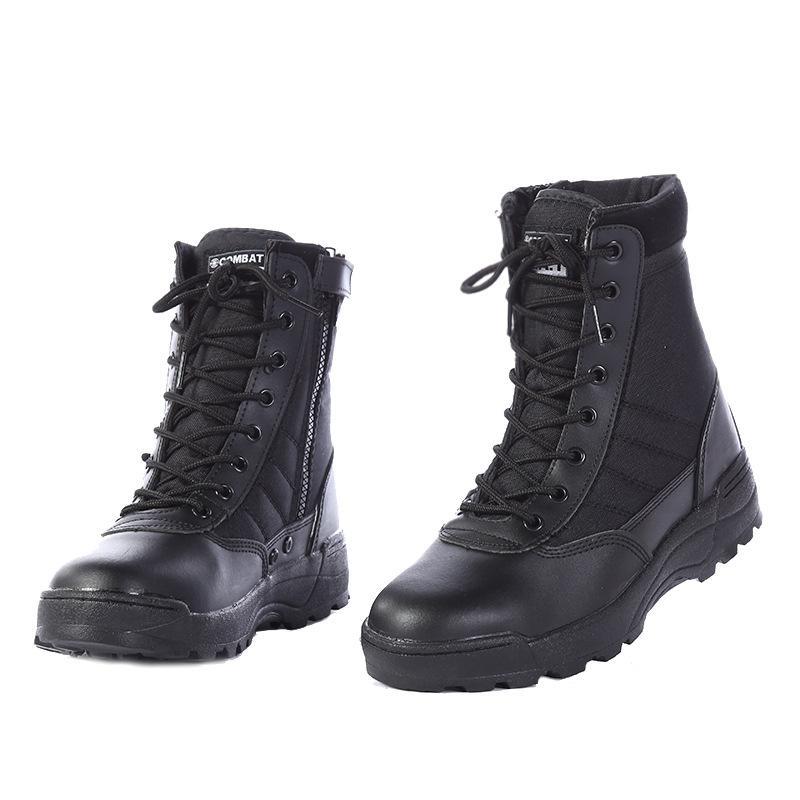 Stahl Kappe Military Echtes Leder Stiefel Männer Kampf Bot Infanterie Taktische Stiefel Askeri Bot Armee Bots Armee Schuhe Erkek Ayakkabi Home