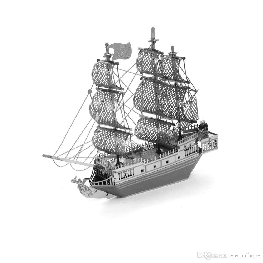 3D Puzzles Black Pearl Pirate Ship - 3D Metal Model Kit - DIY Model Animal Educational Toys Best Of All And No Glue