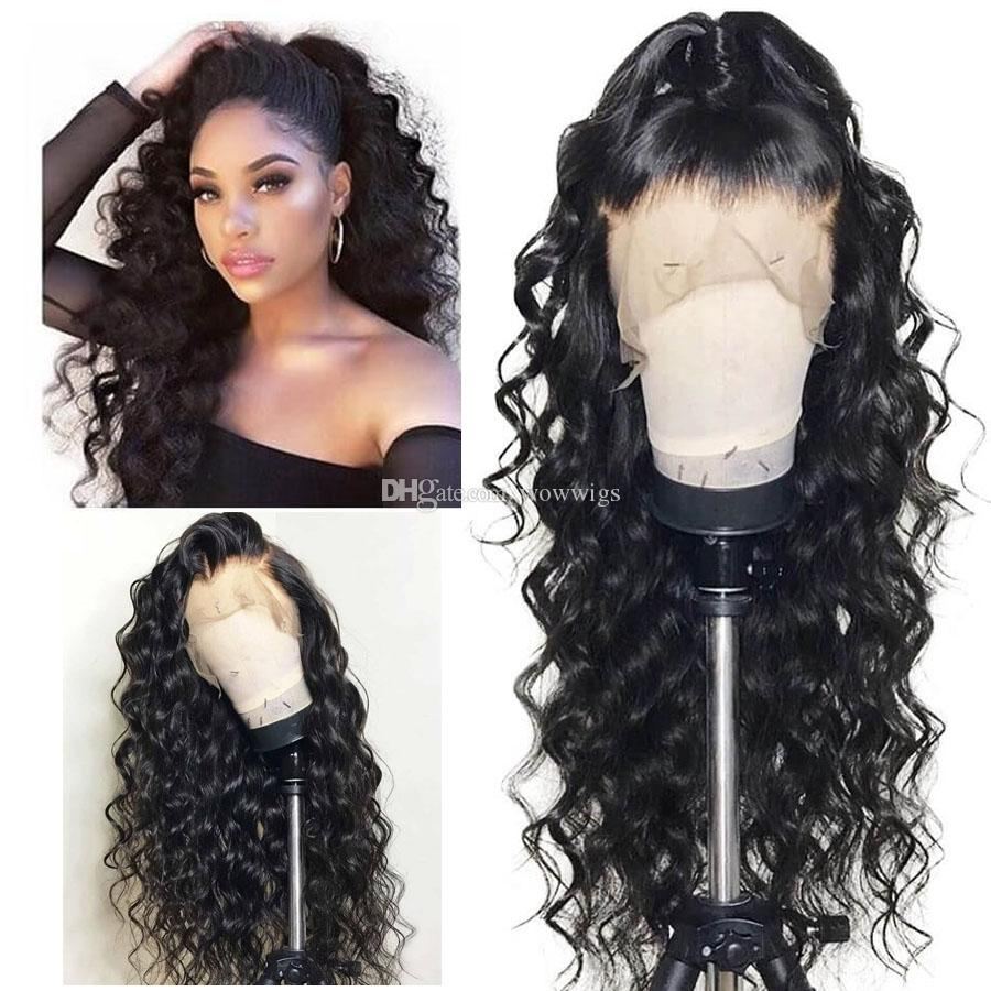 Full Lace Human Hair Wigs Human Hair 13*4 Lace Front Wigs Cheap Water Loose Wave Baby Hair pre plucked Natural Hairline wowwigs