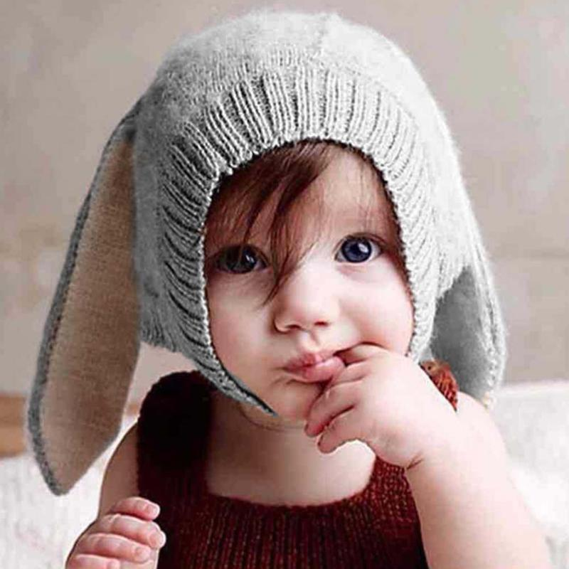 0ae6b86cef9 2019 Baby Hat Kids Long Rabbit Ears Knitted Hat Winter Warm Fleece Solid  Color Children Cap Fashion Toddler Boy Girl Bunny Beanie Cap From Kareem11