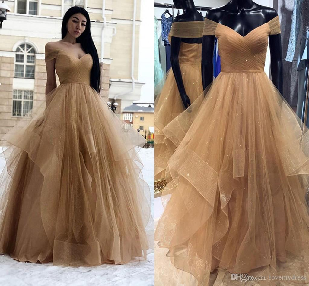 6859b332cd Champagne Tulle Ruffle Prom Dresses 2019 Off The Shoulder Pleats Tiered  Skirt Formal Elegant Formal Dress Vestido De Fiesta Party Dress Long Cheap  Prom ...
