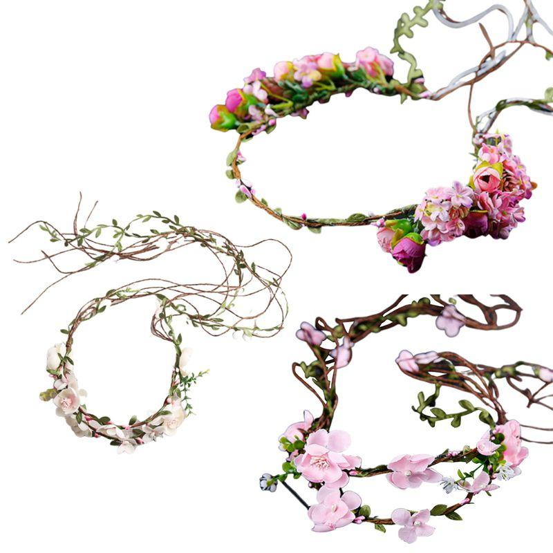 Women Wedding Bridal Imitation Rattan Flower Tiara Headband Beads Faux Pearl Garland Hairband Festival Party Beach Crown 3 Style