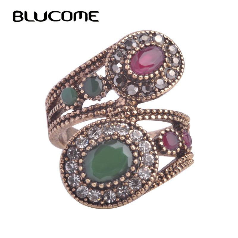 67b8f46f807e7 rystal ring Blucome Women Best Gifts Brand Turkish Rings Antique Gold-color  Vintage Jewelry Red Resin Crystal Ring Anel Bijoux Free Shipp...