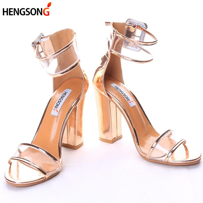 b0cf412e45c Designer Dress Shoes Super High Women Pumps Sexy Clear Transparent Strap  Buckle Summer Sandals High Heels Women Party