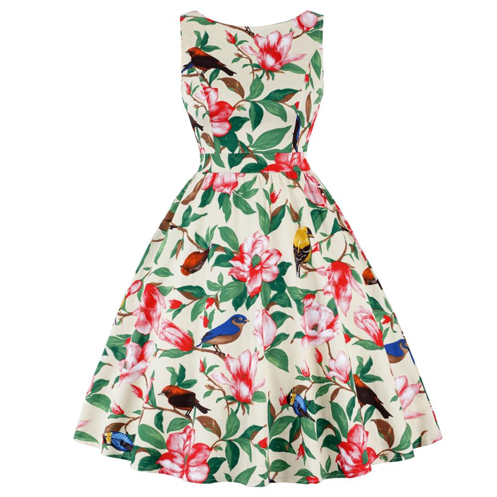7f57b5cc861 Wholesale Women Plus Size Butterfly Print Vintage Dress Summer 50s  Rockabilly A Line Party Dress Cotton Casual Sundress Vestidos Green Dresses  For Teens ...