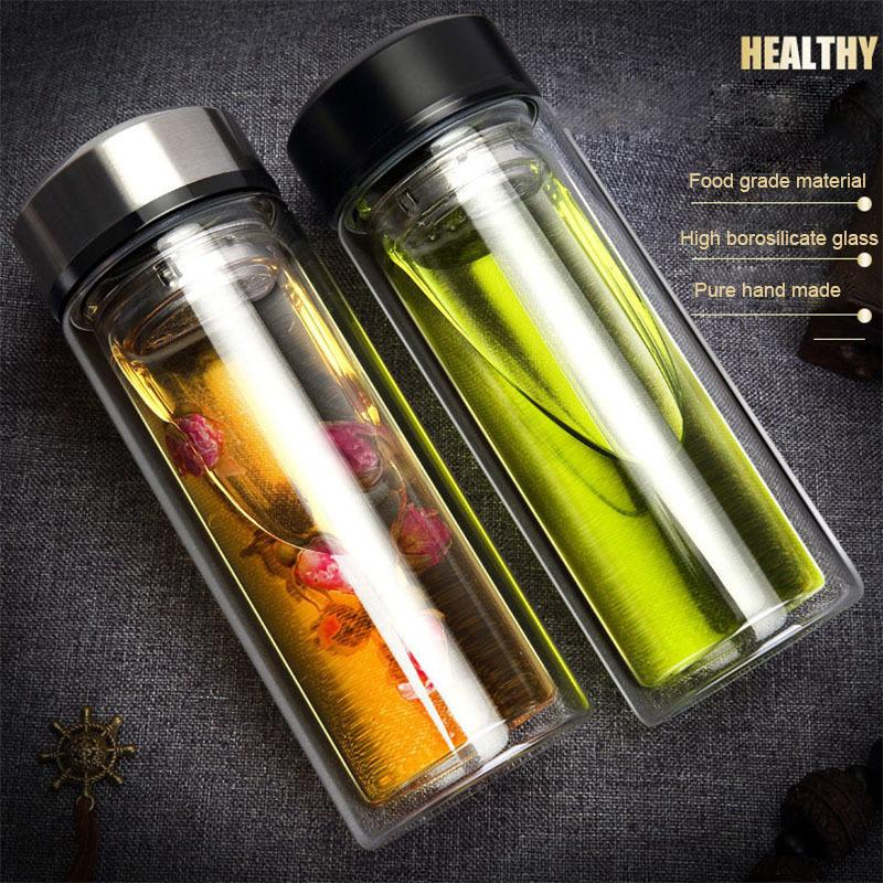 320ml Glass Water Bottle Business Men Office Transparent Double Glass Water Bottle Business Flask Dropshipping T8190627