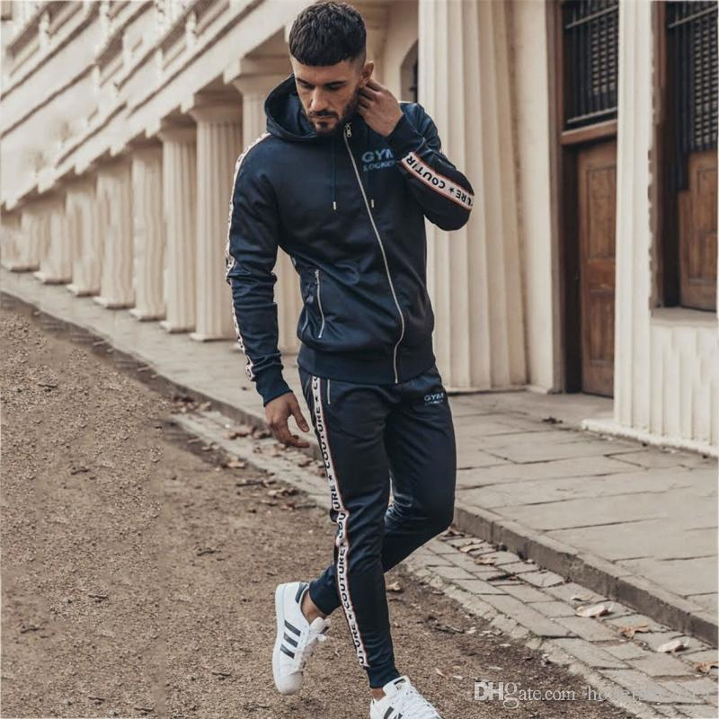 Sport Suit Male Running Gym Men Set Sportswear Tracksuit Fitness Body building Mens Hoodies+Pants Sport Clothing Men's Suit Set #106043