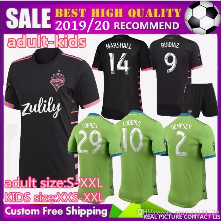 new product 532f6 a8215 adult kids 2019 2020 New Seattle Sounders FC Away Soccer Jersey kits 19 20  Home RUIDIAZ MORRIS DEMPSEY TORRES men Boys Football Shirt