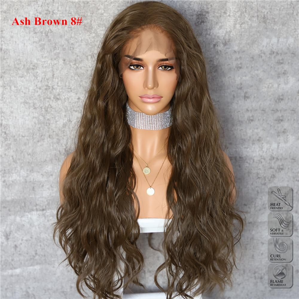 23fd310afdc443 New Halloween Ash Brown 8  Natural Wave Heat Resistant Hair Women Wedding  Party Daily Makeup Present Synthetic Lace Front Wig 180% Density The Wigs  Wigs ...