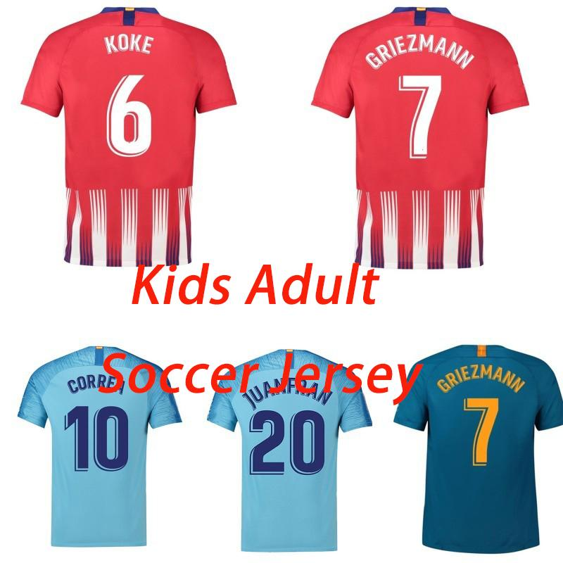 2019 2018 19 Madrid Kids Kit Home Soccer Jersey GRIEZMANN Madrid KOKE  THOMAS SAUL DIEGO Women Men Football Shirt Customized From Redhouse1966 a4e66f327b