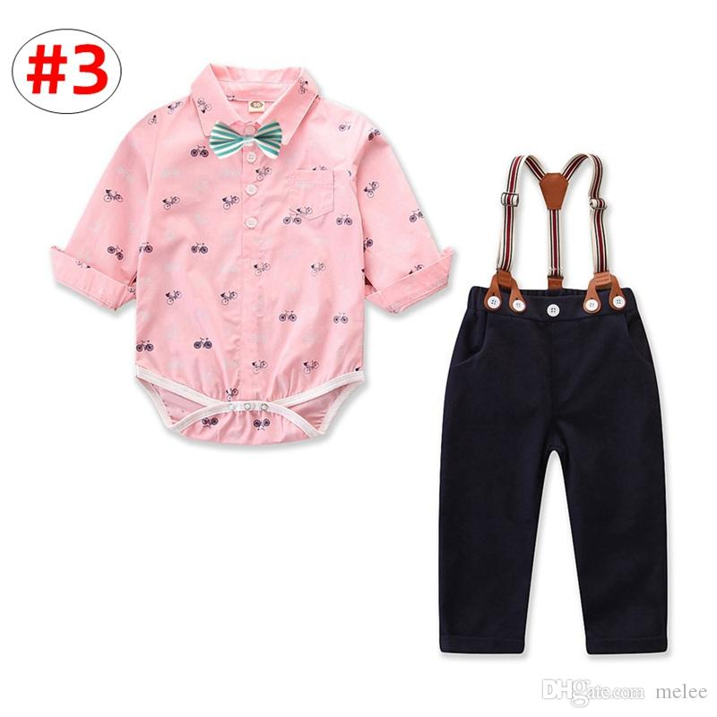 9051b2610454 Baby Boy Gentleman Outfit Toddler Long Sleeve Romper + Suspender Pant Clothing  Set 4Size for 0-3T Baby Long Sleeve Outfit 4size for Choose for 0-3T Online  ...