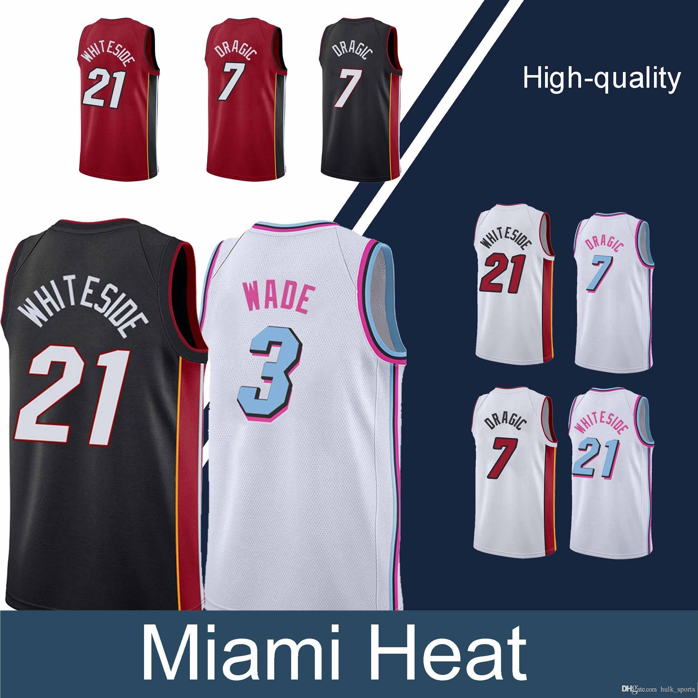 low priced 1f276 05678 Miami jerseys Heat Dwyane 3 Wade jersey Goran 7 Dragic Hassan 21 Whiteside  hot sale Basketball Jerseys
