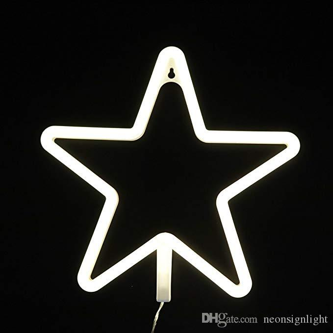 OHANEE Custom fit Neon Light Sign LED Star Shaped Night Wall Decor Light Operated By USB/Battery With Warm White Light for Birthday