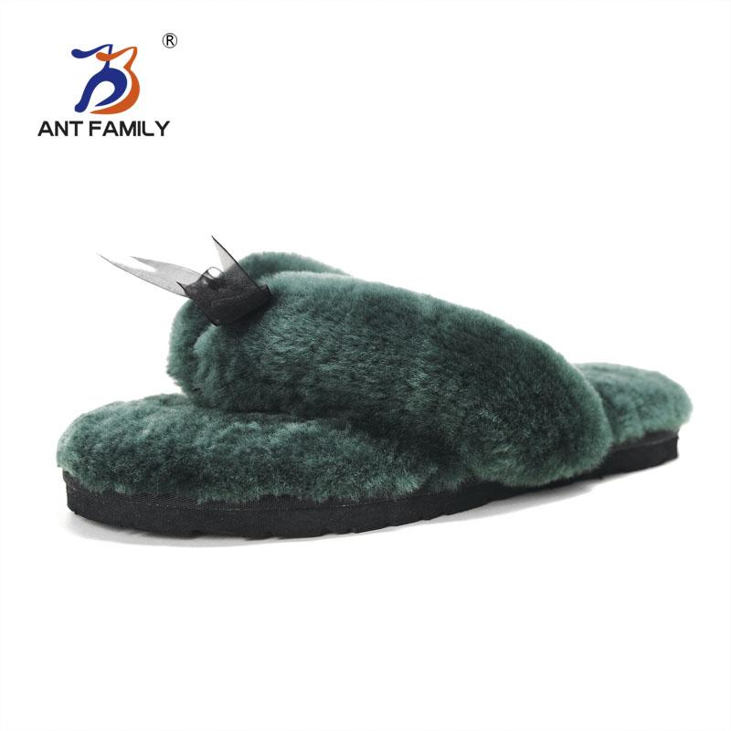 11 Color Natural Fur Cute House Pantofole Donna Indoor Fashion Furry Pantofole in pelle di pecora 4 stagioni Home Flip Flops Bow