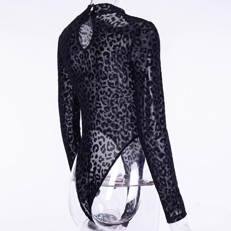 Women Autumn Bodysuit Leopard Long Sleeves Transparent Skinny Stand Collar Jumpsuit TH36