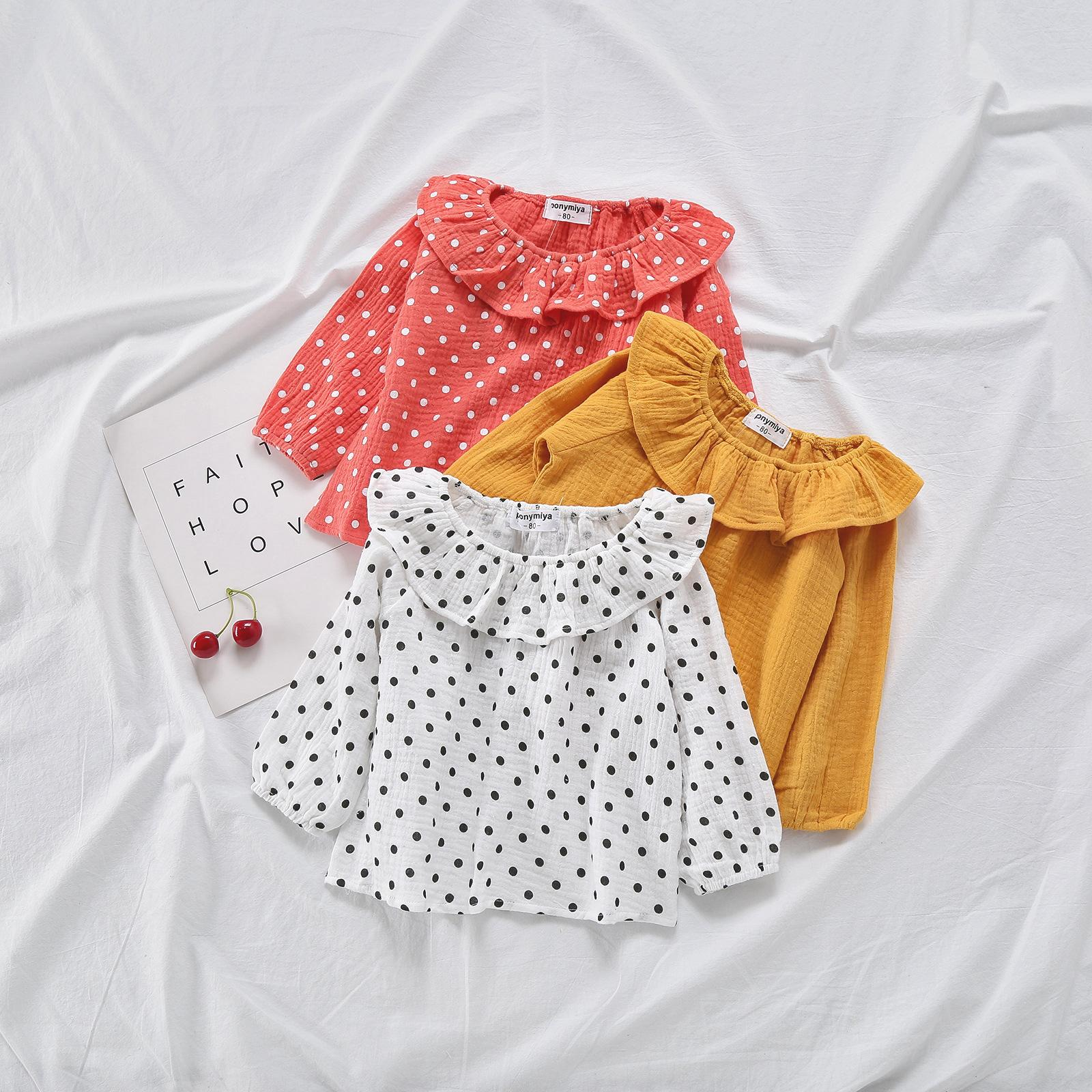beb0b4406 2019 2019 Autumn New Girls Clothes Linen Cotton Long Sleeve Shirts Peter  Pan Collar Baby Girl Princess Blouse Toddler Tops Dot Blouse From  Textgoods08, ...