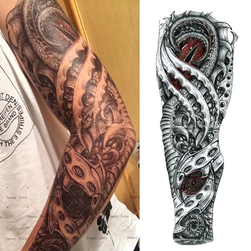 Full Arm Temporary Tattoo Waterproof Cool Grey Black Dragon ...