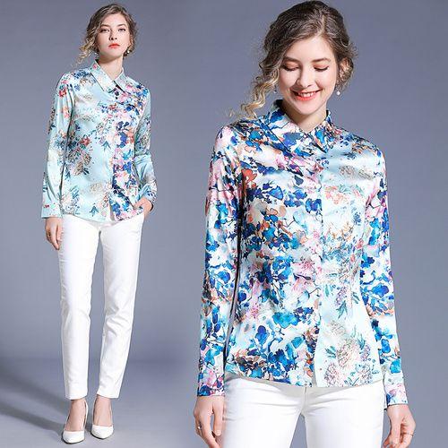 super popular 9d513 0b293 camicetta donna blusa manica lunga BLU donna FLOWER stampa camicette donna  taglia XXL camicetta donna