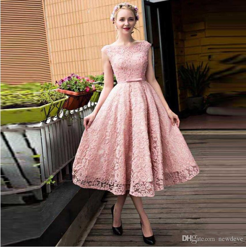 c56bd99c7aff1 Elegant Pink Lace Homecoming Dresses 2019 Cap Sleeve Pearls Beaded A Line  Prom Party Cocktail Gowns Sweet 16 Dresses Short Graduation Dress Dresses  For 2015 ...
