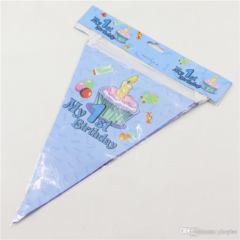 Wholesale- blue boy 1st birthday cake candy banners cartoon paper flags 2.5m kids birthday party decoration hanging supplies favor