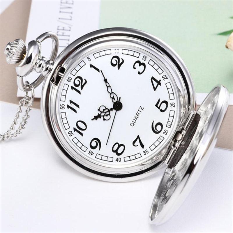 2018 New Silver Smooth Quartz Collana Orologio da tasca con catena corta Miglior regalo horloges mannen Orologio donna relogio de bolso #C
