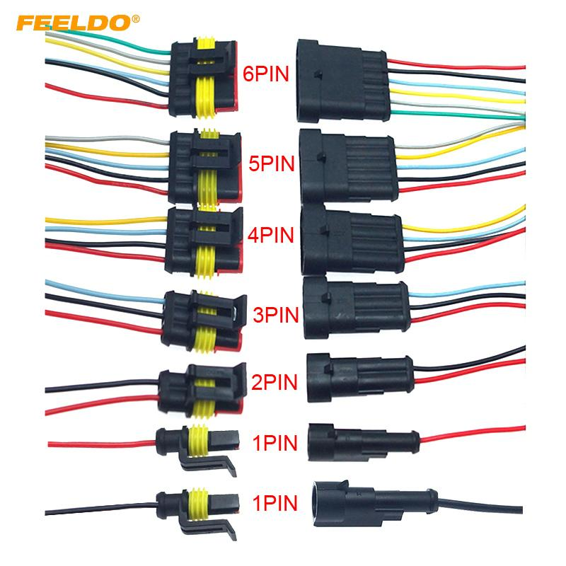 5 Sets 4 Pin Car Waterproof Electrical Connector Plug with Wire wire harness