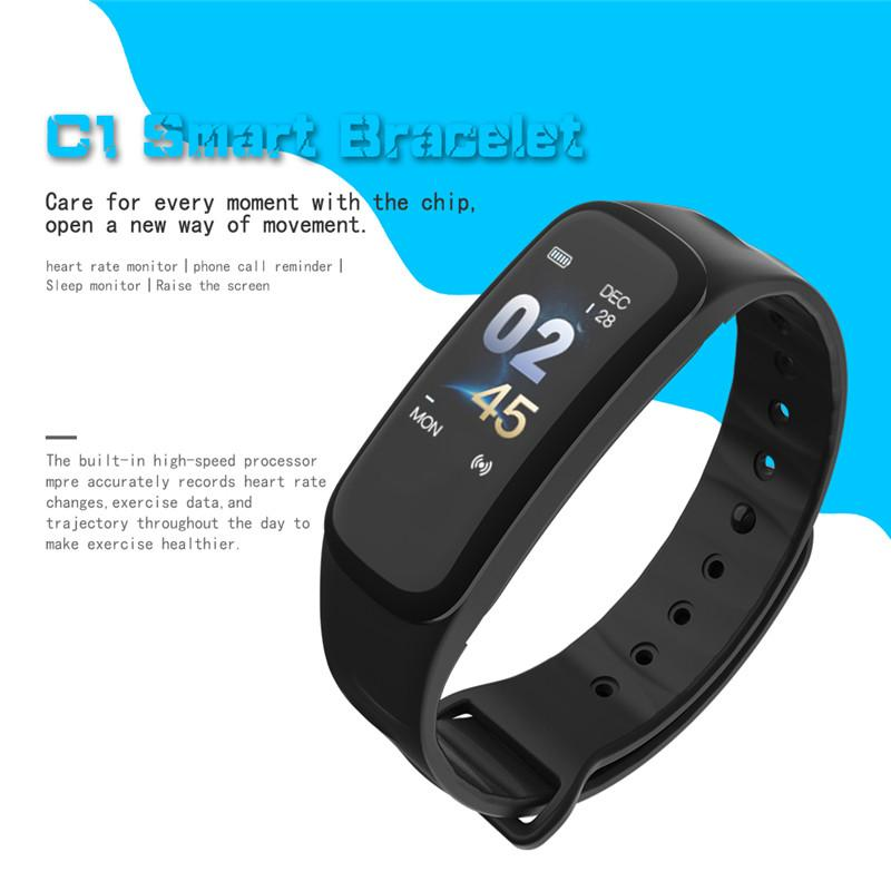 C1 outdoor fitness pedometer waterproof running fitness watch heart rate monitoring tracker calorie step count pedometer