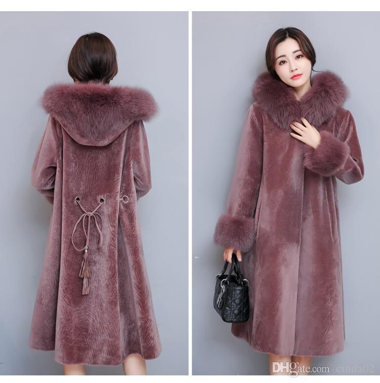 Renard Hiver Taille Robe De Pour Manteau D Out Grande Femme Fourrure Nouvelle Femmes Rose mN08nvw