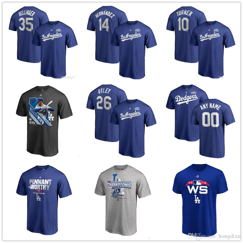 6a206b81 Custom Men's DODGERS baseball T-shirt 2018 National League Champions  Kershaw turner Machado Bellinger hernandez utley Name & Number T-Shirts