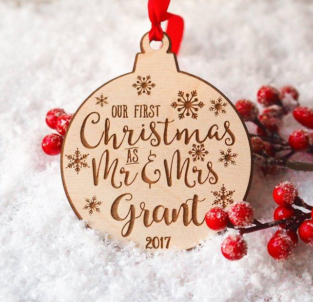 Personalized Christmas Gifts.Personalized Christmas Ornaments Mr And Mrs Gifts Couple Newlywed Gift Just Married