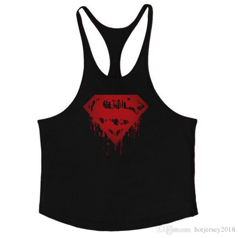 748e9c3d6d116 2019 Fitness Bloody Superman Cotton Mens Tank Tops Bodybuilding Stringer  1cm Shoulder Strap Gyms Vest Sexy Workout Tee Shirt  136567 From  Hotjersey2018