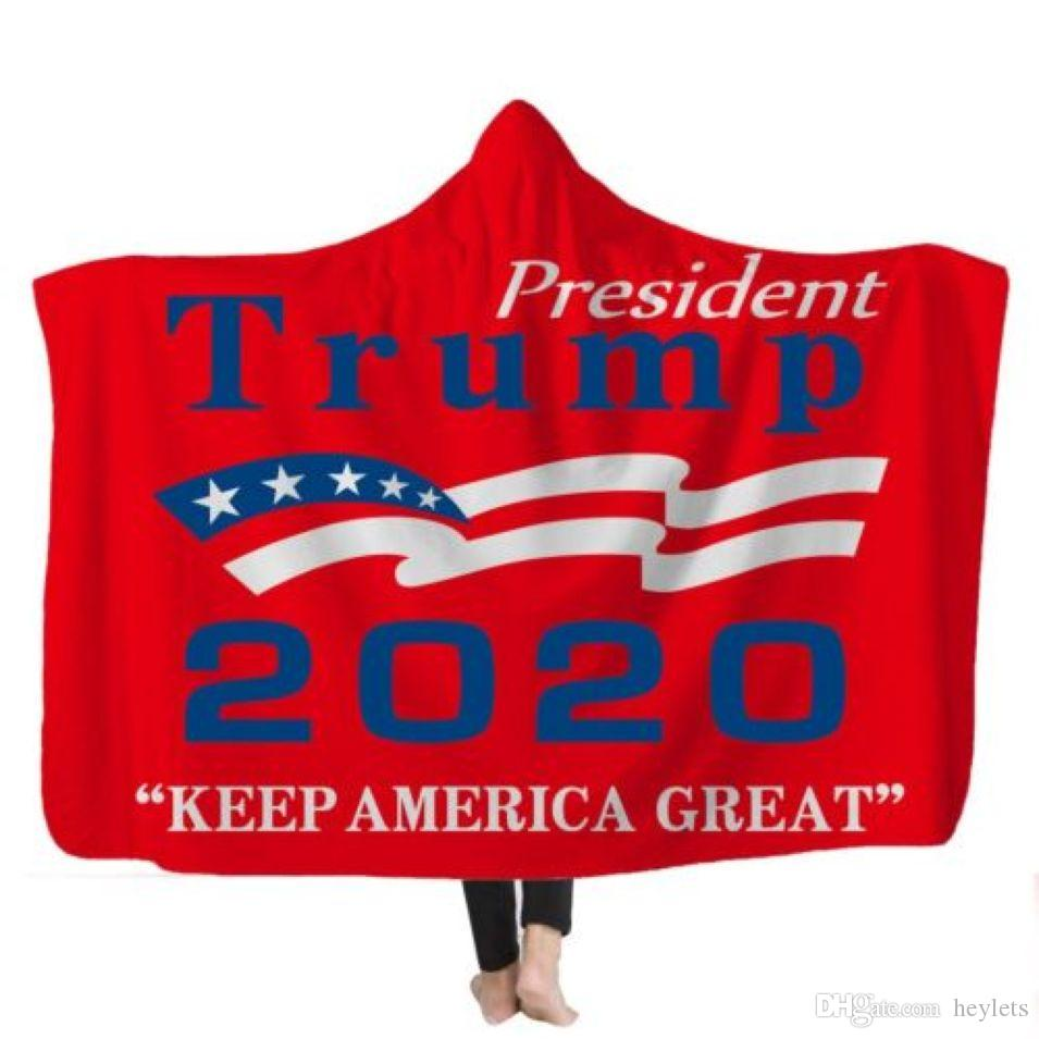 200 * 150CM Trump 2020 Re-elect Slogan Kapuzendecke Kinder Winterlager Decke Erwachsene Winter verdicken Bademantel 30 Stück FedEx