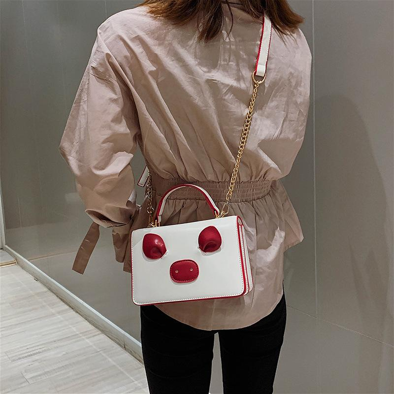 Simple Style Messenger Bag Hit Color PU Leather Crossbody Bag Cute Square Bag for Girls 2019 Fashion Chain Shoulder Bags