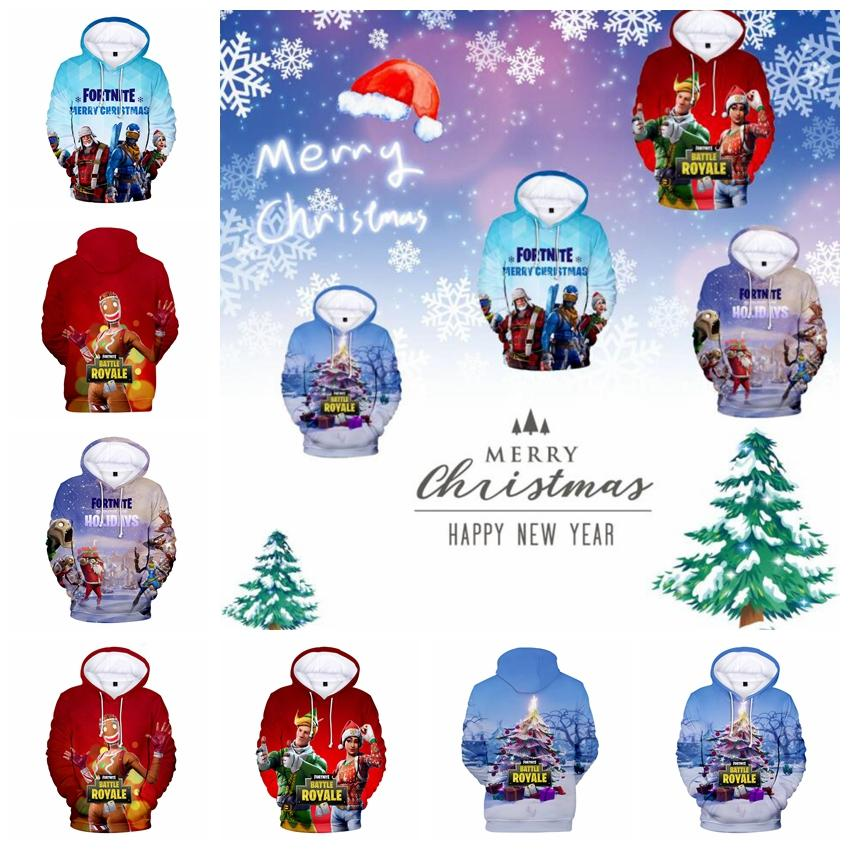 2019 Fortnite Christmas Hoodies Xmas Tree Snow Print Cartoon