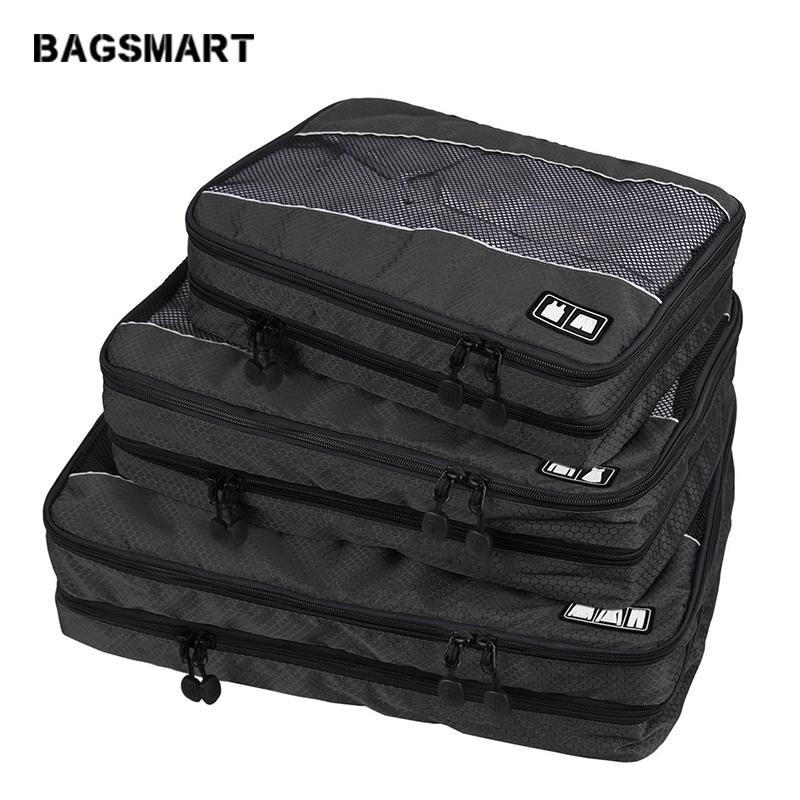 Bags Travel Bags BAGSMART 3 Pcs Double Layer Packing Cube For Clothing Zippers Luggage Bag For Shirt Travel Duffle Luggage