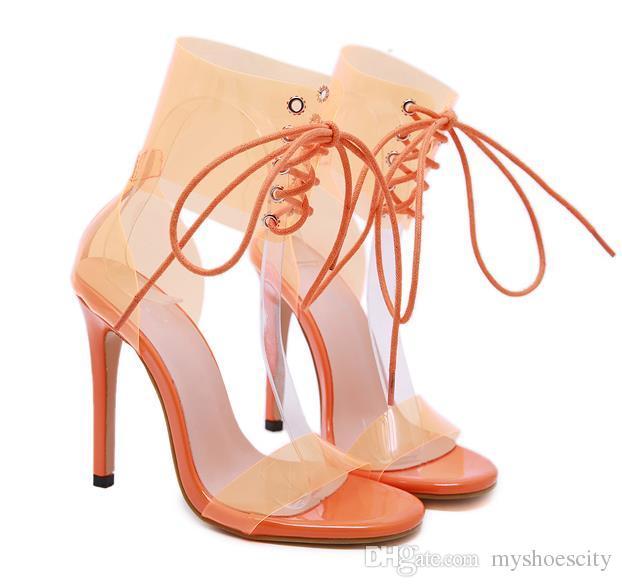 fashion luxury designer women clear sandals orange shoes PVC transparent lace up shoes size 35 to 40